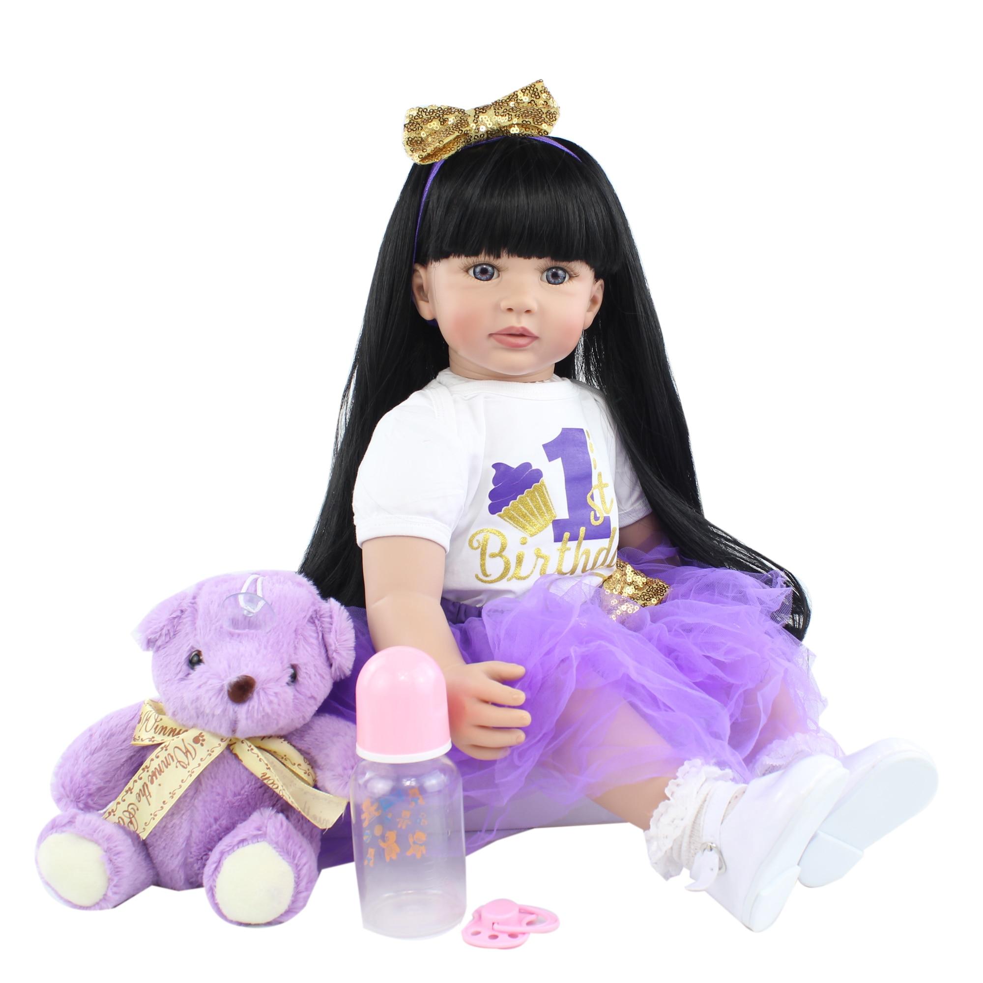 Кукла реборн силиконовая для девочек, мягкая игрушка, Длинная черная принцесса, наряд для малышей, подарок на день рождения, 60 см, 24 дюйма
