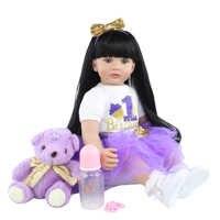 Muñecas de juguete Reborn de silicona suave para niñas, 60 CM, pelo largo negro de 24 pulgadas, Princesa, vestido para niños pequeños, regalo de cumpleaños