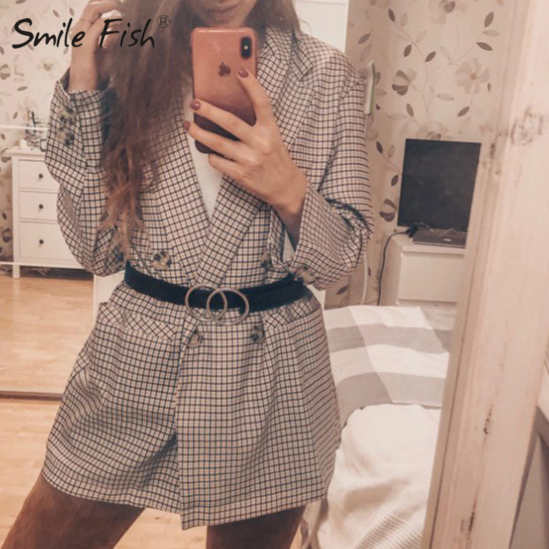New Elegant Checked Plaid Blazer Dress Long Sleeve Oversized Winter Autumn Women Jacket Office Lady Wrap Slim Streetwear GV781