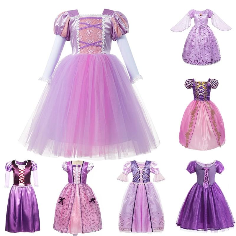 Kids Girls Cosplay Princess Dress Aurora Snow White Rapunzel Fancy Gift Dresses