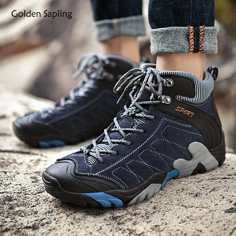 Golden Sapling Outdoor Men's Boots Mountain Climbing Shoes Retro Style Sneakers for Hiking Trekking High Top Tactical Shoes Men|Hiking Shoes|Sports & Entertainment - title=