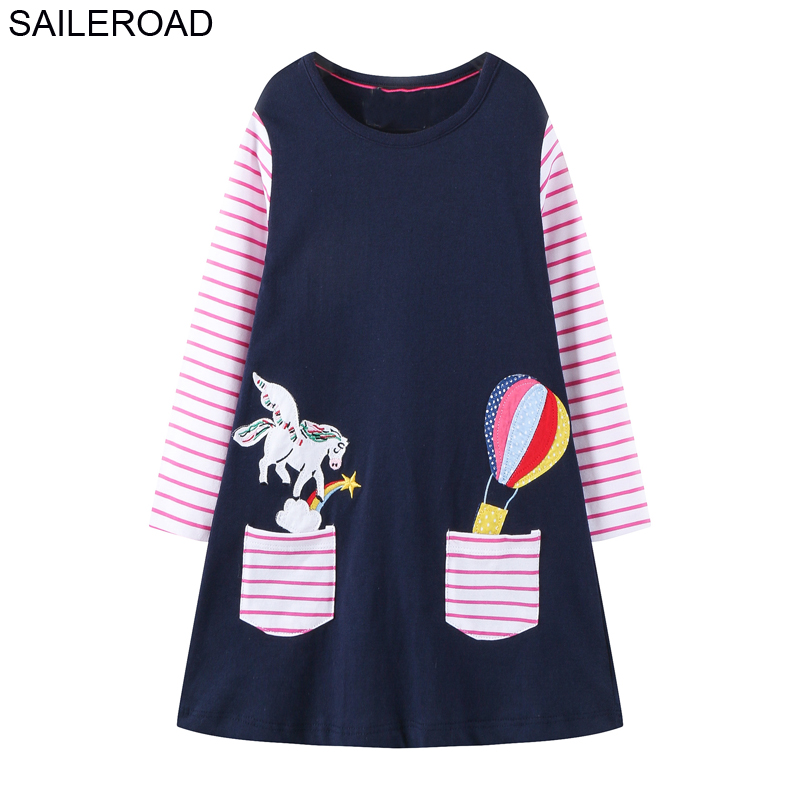SAILEROAD Girls Unicorn Costume Cartoon Cotton Long Sleeve Lovely Dresses  Autumn Winter for Baby Girl Party Dress 2-7Years 1