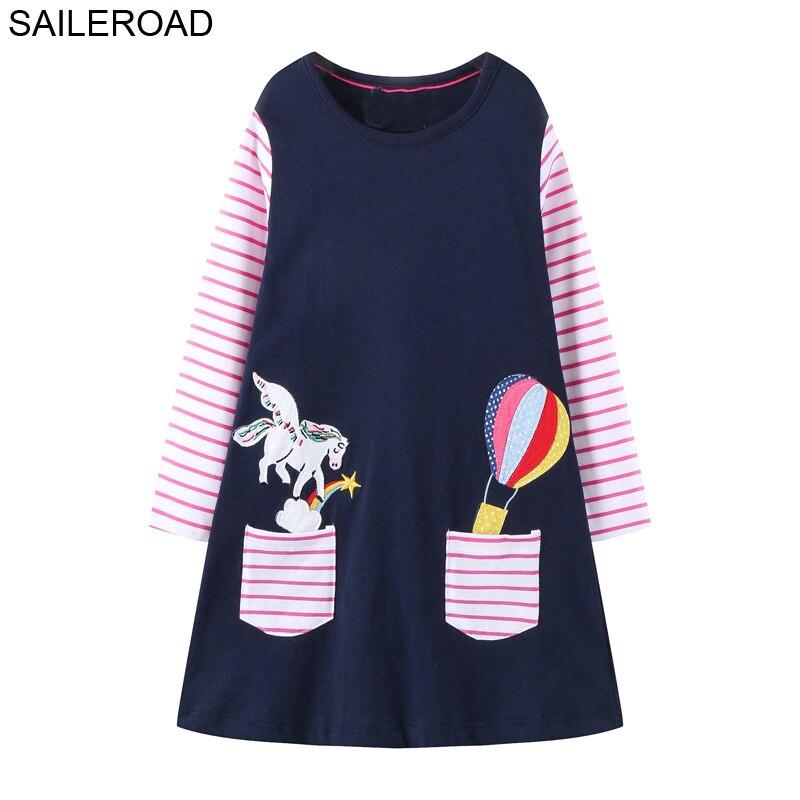 SAILEROAD Traje de unicornio para niñas Algodón de dibujos animados Manga larga Vestidos encantadores Otoño Invierno para niña Vestido de fiesta 2-7 años