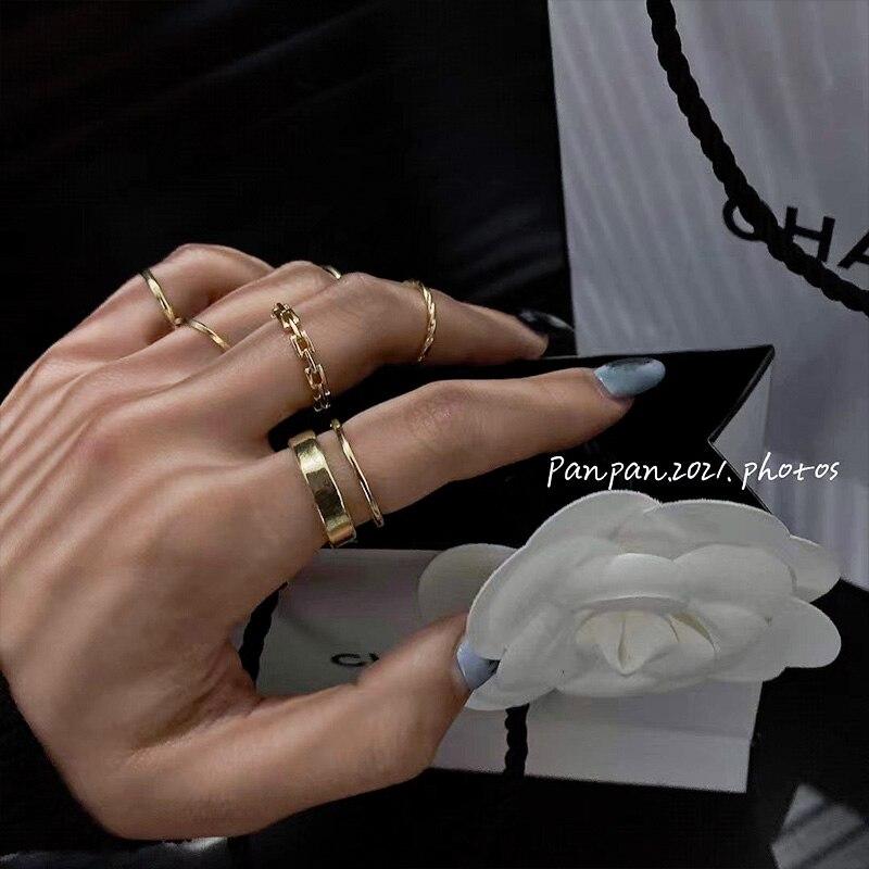 Японский Стиль простой браслет набор колец для женщин Мода персонализированные нишу дизайн указательный палец кольцо, Ins, популярная сеть К...