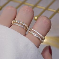Luxe 14K véritable or Double couche pavé incrusté CZ anneau ouvert pour les femmes réglable glacé zircon cubique brillant anneaux Bijoux
