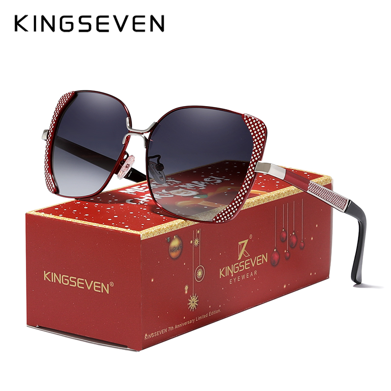 Merry Christmas Gift Sunglasses Women Ladies Gradient Butterfly Sun Glasses Female Vintage KINGSEVEN 7th Anniversary Limited