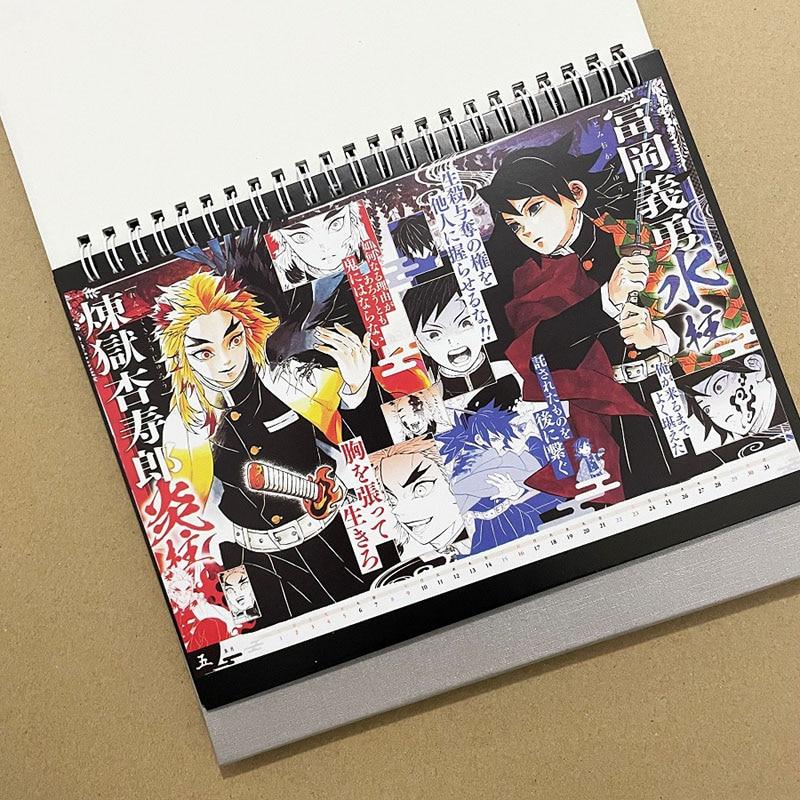 2021 Anime Demon Slayer Desk Calendar Figure Desk Calendar Daily Schedule Planner 2
