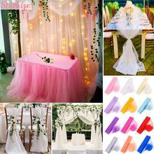 5m/10m Wedding Sheer Yarn Crystal Organza Tulle Roll Rustic Wedding Decor Table Vintage Wedding Party Deco Supplies Marriage