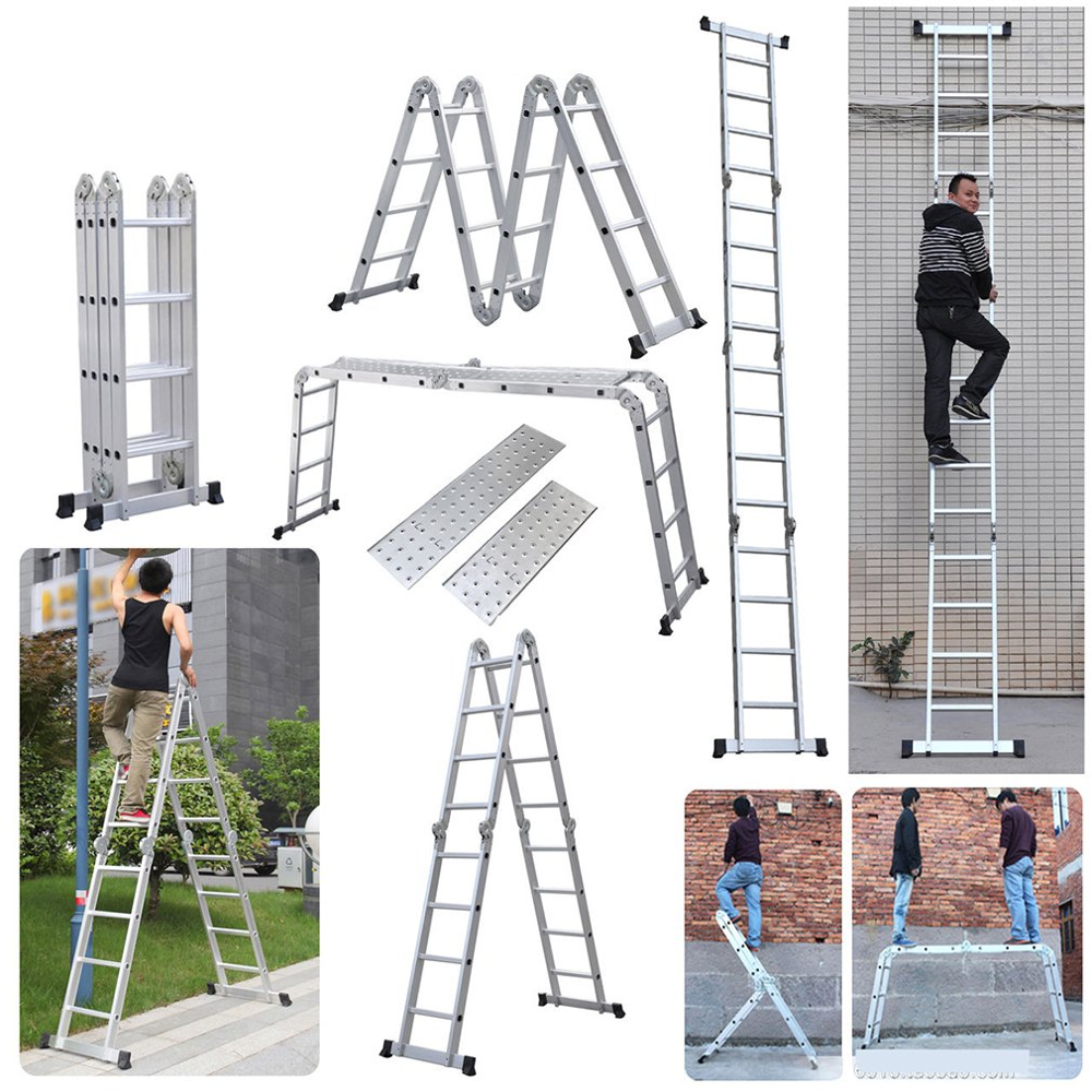 New 15.5FT Step Platform Multi Purpose All-Rustproof Aluminum Alloy Folding Scaffold Step Ladder For Commercial Use And DIY