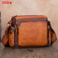 Vintage Leather Men's Shoulder Messenger Bag Male Large Capacity Crossbody Bags Retro,crossbody Bag Cross Square Slit Pocket