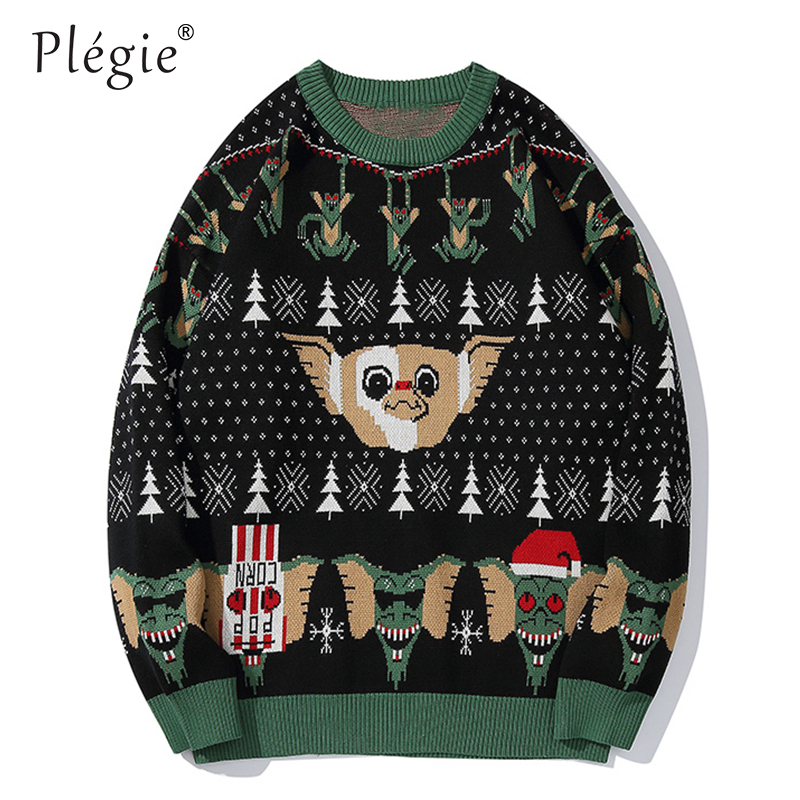 Plegie Sweaters Men Animal Print Mens Pullover Harajuku O-neck Male Sweaters College Style Knitted AutumnWinter Couple Sweaters