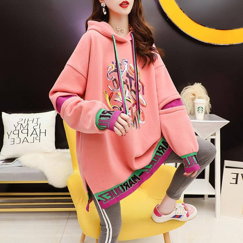 QRWR-sudaderas coreanas con capucha para mujer, jerséis informales de lana gruesa con personalidad, sudaderas de retazos suelto a la moda para Otoño e Invierno 2020