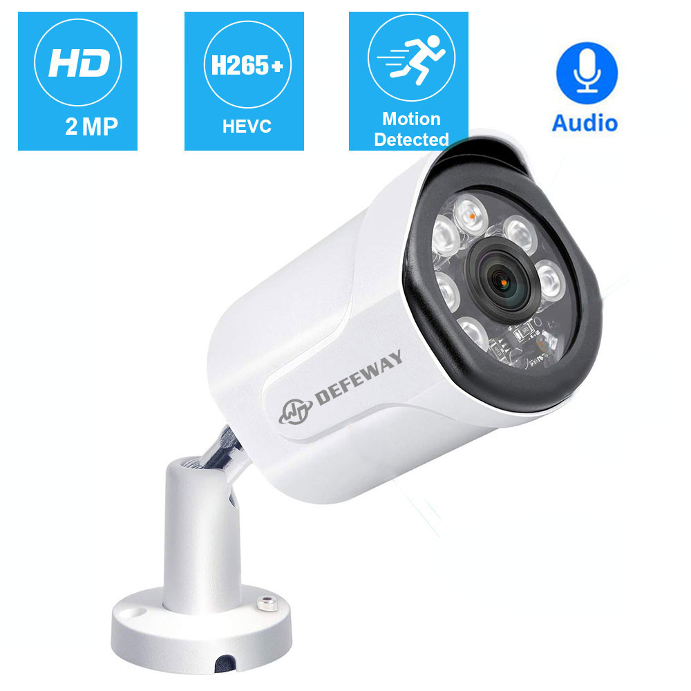 H.265+ 2.0MP POE IP Camera IP66 Waterproof Night Vision Audio Record CCTV Security Camera System Video Surveillance For POE NVR