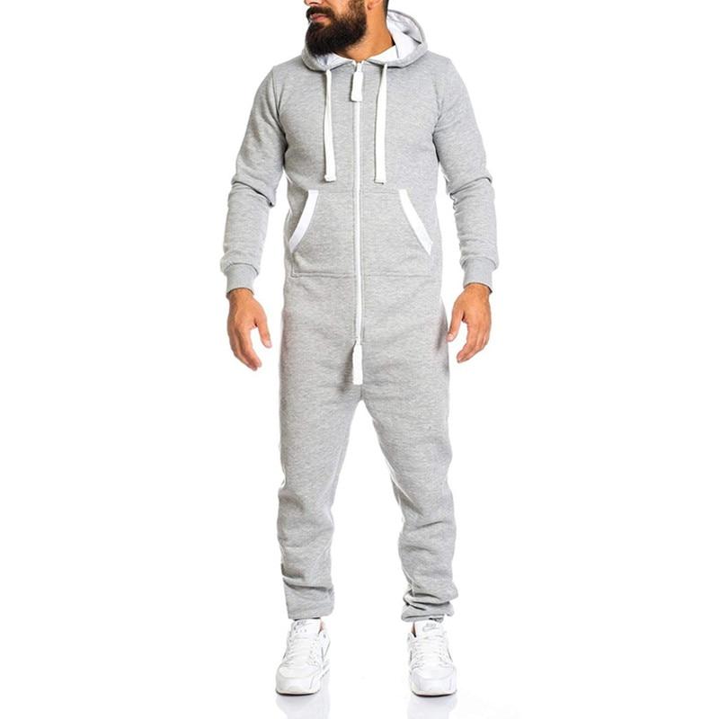 Men Sweat Suit Set 2019 New Solid Color Zip Conjoined Hooded Men's Personality Tracksuit Men Set