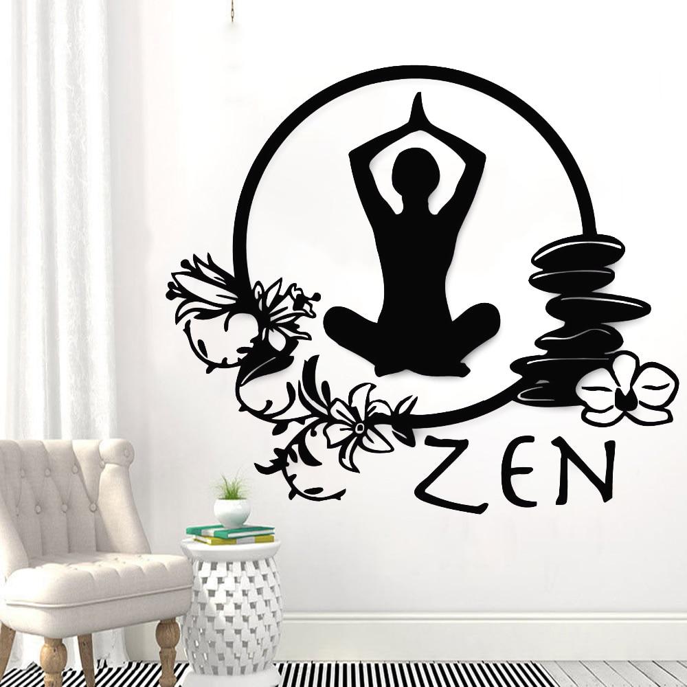 Наклейка на стену в стиле Дзен, Йога, студия, искусство, Декор, цветы, съемные виниловые наклейки на стену, комната для медитации, спальня, романтическое украшение для дома Y712|Наклейки на стену| | АлиЭкспресс