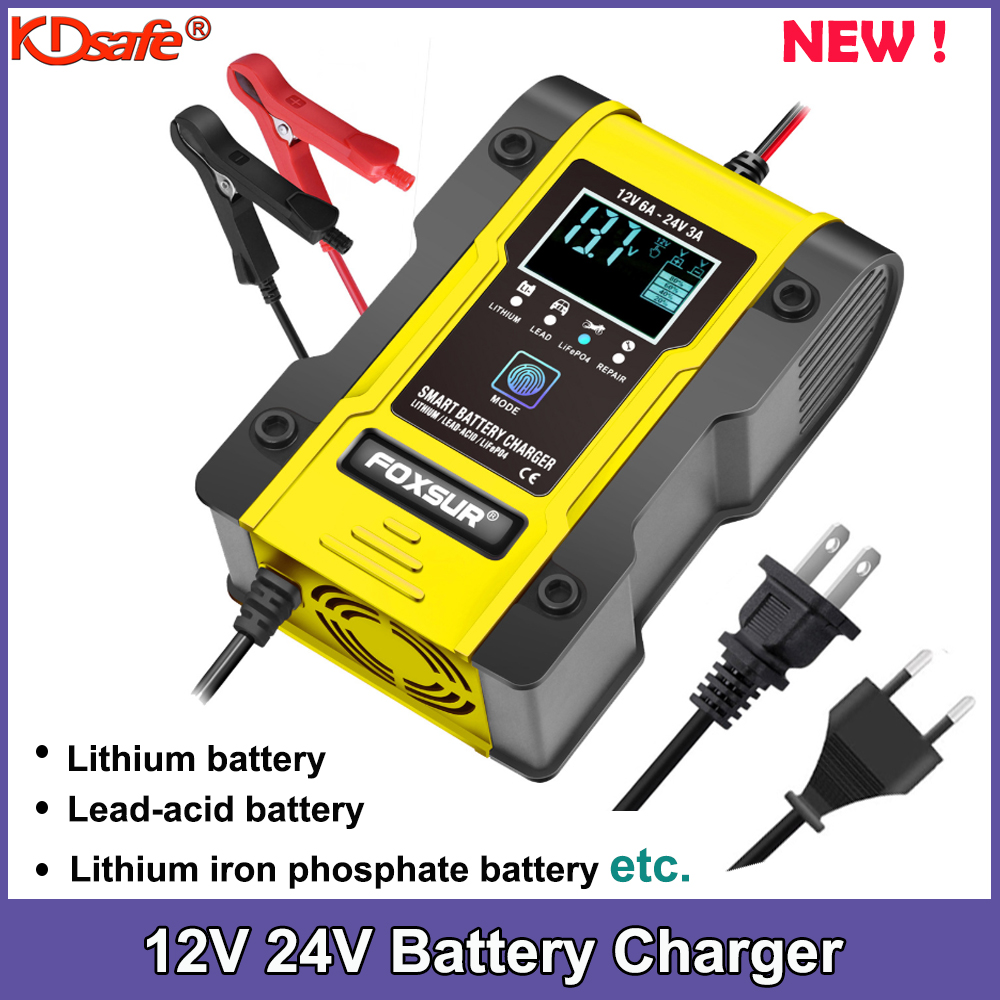 Nuevo de litio de 12,6 V cargador de batería del coche 12V 12V 24V 6A pulso reparación inteligente cargador AGM GEL de plomo-ácido LiFePO4 LiPo 7-etapa cargador