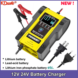 NEW 12.6V Lithium Car Battery Charger 12V 24V 6A Pulse Repair Smart Fast Charger AGM GEL Lead-Acid LiFePO4 LiPo 7-stage Charger