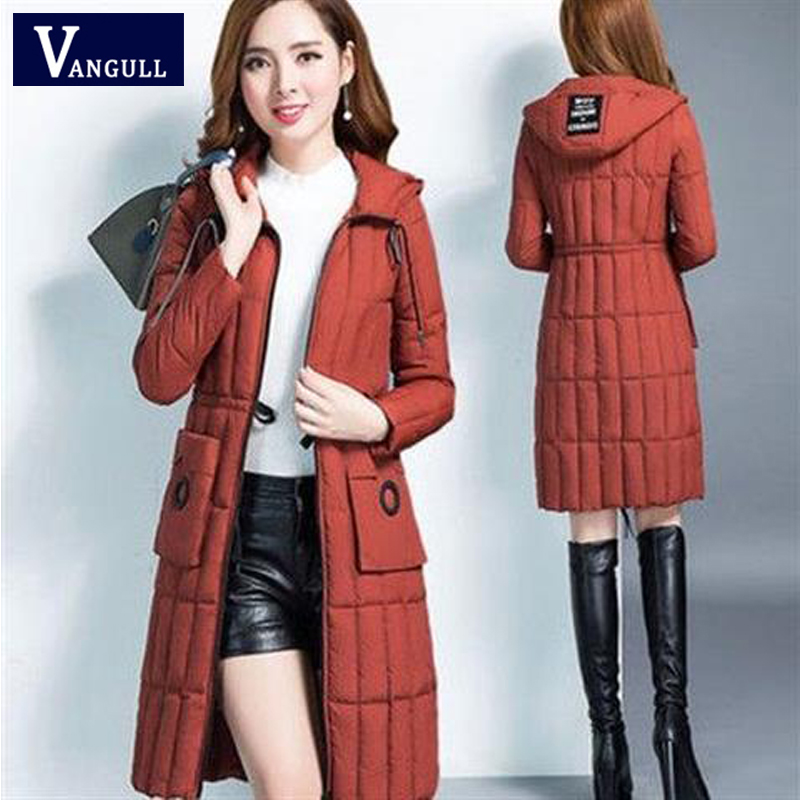 Vangull Women Winter Coat   Parkas   Slim Letter Print Hooded Jacket 2019 Casual New Adjustable Waist Zipper Thick Long Outerwear
