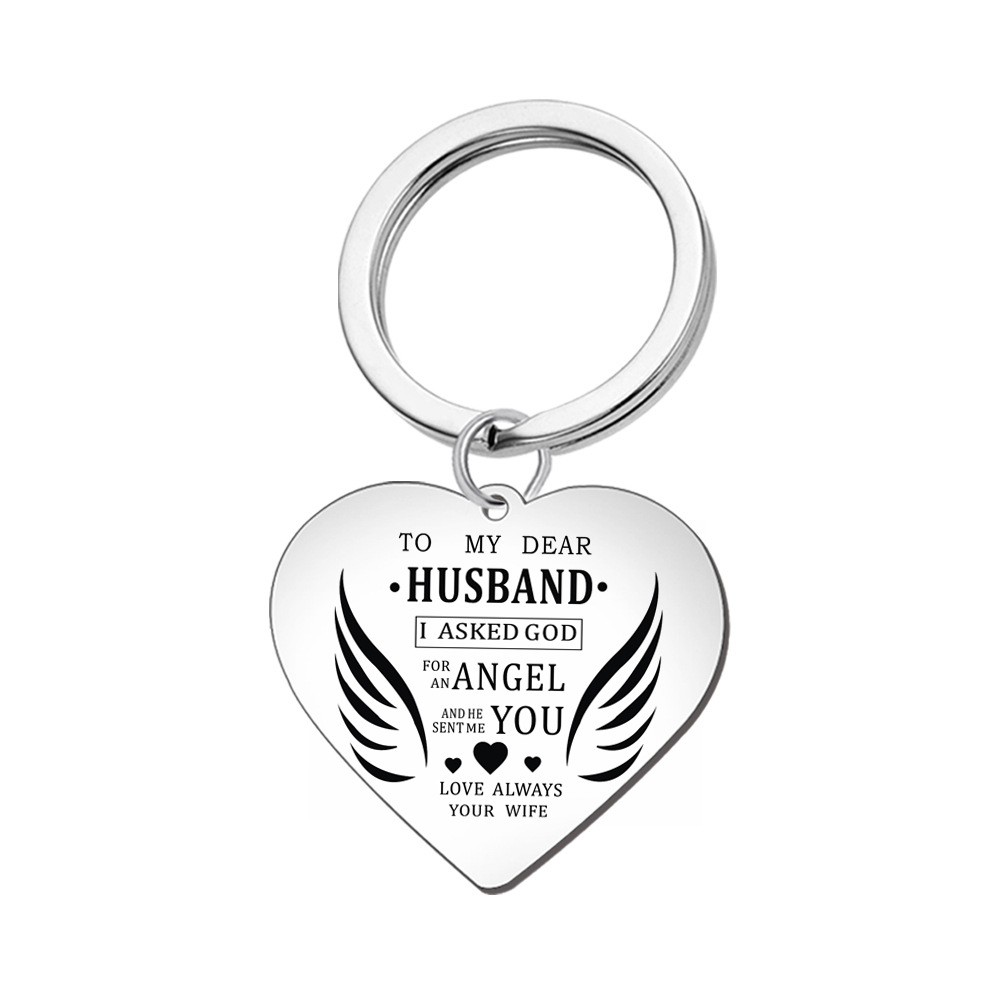 Valentiens Day Gift Keychains Necklace WIFE HUSBAND Family Jewelry Pendant Necklace Stainless Steel Keyring Charm Couple Jewelry in Key Chains from Jewelry Accessories