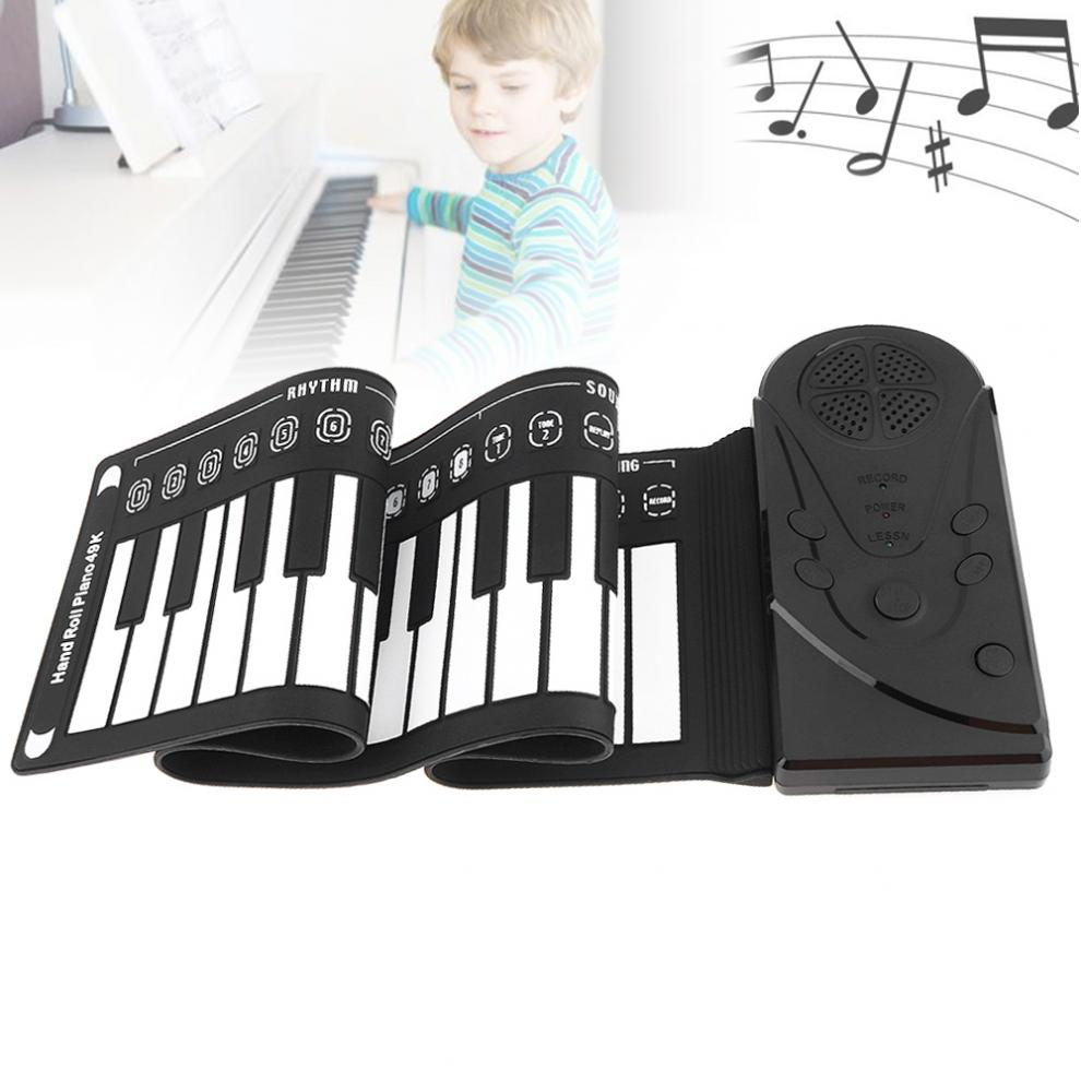 49/61/88 Keys USB MIDIRoll Up Piano Rechargeable Electronic  Silicone Flexible Keyboard Organ Built-in Speaker Support Bluetooth
