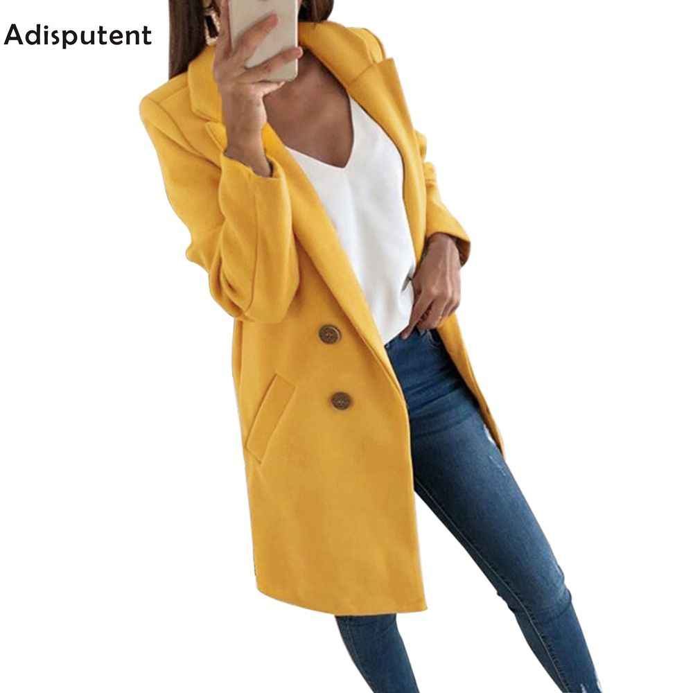 ADISPUTENT New Fashion Wool Blend Coat Long Sleeve Turn-Down Collar Warm Autumn Winter Wool Women Jackets Plus Size 3XL