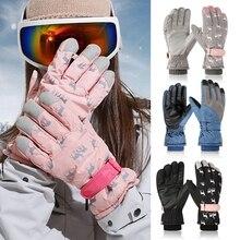 Mittens Ski-Gloves Snowboard Print Deer Outdoor Winter Waterproof Women Cartoon Plush-Lined