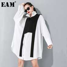 [EAM] Women Black Split Joint Big Size Two Piece Blouse New Lapel Long Sleeve Loose Fit Shirt Fashion Spring Autumn 2020 1M889