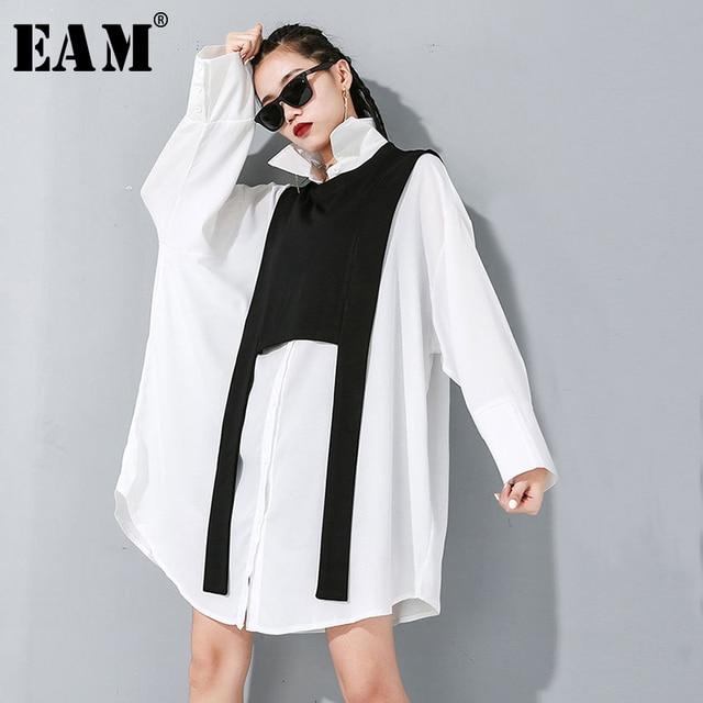 [Eam] feminino preto divisão conjunta tamanho grande duas peças blusa nova lapela manga longa solto ajuste camisa moda primavera outono 2020 1m889