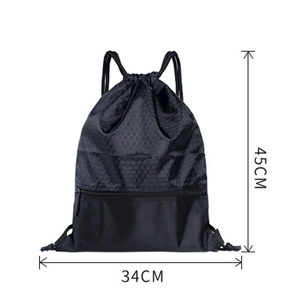 Women Men Sports Bag Backpack Large Capacity Travel Practical Riding Nylon Solid Wear Resistant Anti-splash Drawstring Lock