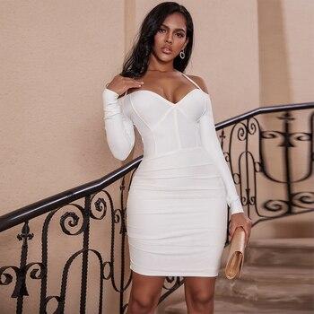 Ocstrade Long Sleeve Bandage Dress 2020 Draped White Bandage Dress Off the Shoulder Bodycon Celebrity Evening Party Club Dress printing off the shoulder flounce dress
