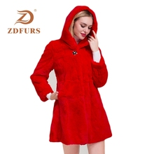 ZDFURS* 2019 Luxury Long fur coat Customize Plus Size Factory sale Genuine Rex Rabbit Real Fur Coat Women Jacket New Winter