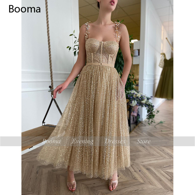 Booma Gold Glitter Tulle Prom Dresses Beaded Straps Tea-Length Prom Gowns Pockets A-Line Short Formal Party Dresses Plus Size 5