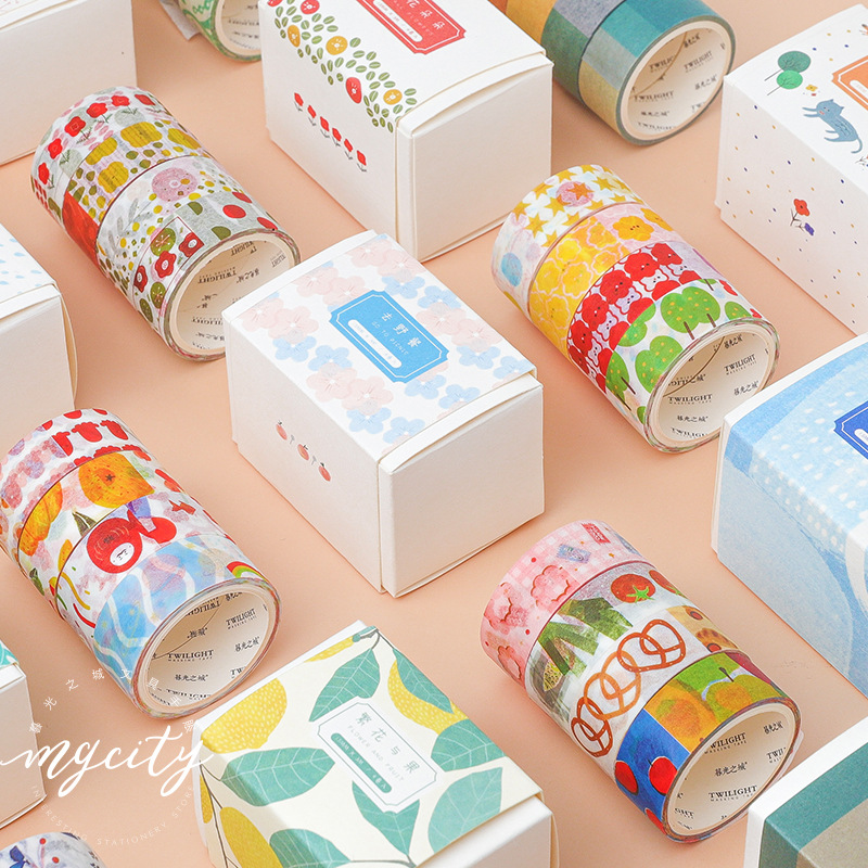 Mohamm 4 PCS Cute Viva Series Washi Masking Tape Set Decorative Creative Cartoon Scrapbooking Stationery School Supply