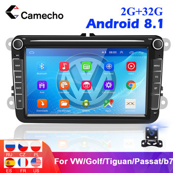 Camecho 2 din Android 8.1 For VW/Volkswagen/Golf/Polo/Tiguan/Passat/b7/b6/leon/Skoda/Octavia Car Radio GPS Multimedia Player image