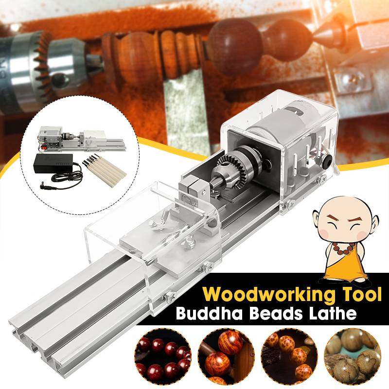 Mini DIY Wood Cutting Machine Lathe Bead Grinding Drill Polishing Woodworking Tool 96W 7 Level Adjustable Speed