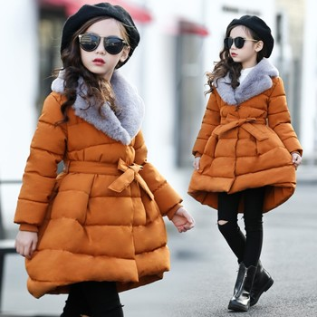 Girls Winter Coats warm Jackets Children Fur Turn-down Collar thick Parka Spring Girls Clothes 2020 Big Teen Age 4-13 Years