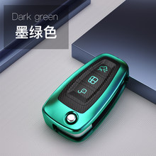 Capa de chave de carro de fibra de carbono, capa tpu para ford focus 3 4 mk3 st nova fiesta kuga escapamento flip remoto capa chave eletrônica auto