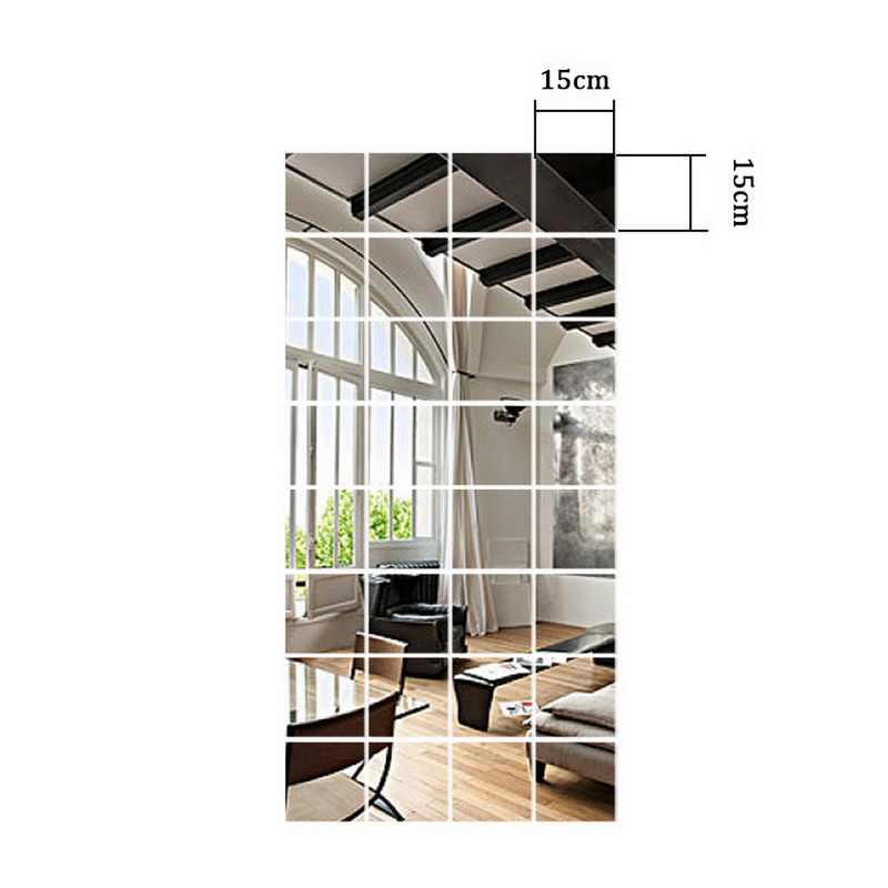 3D正方形と長方形アクリルミラー壁の装飾ステッカーdiyアート自己粘着装飾シンプルなベッドルームミラー9/16/32個