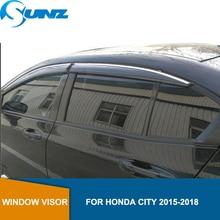 Side window deflectors For Honda City 2015 2016 2017 2018 Car door visor protector car rain guard accessories Car Styling SUNZ lsrtw2017 car styling car window rainshield door visor for honda odyssey 2015 2016 2017 2018 window trims