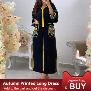 Elegant Women Long Dress Autumn 2020 Long Sleeve Casual A Line Printed Fashion Maxi Dress Office Lady Work Femme Vestiods(China)