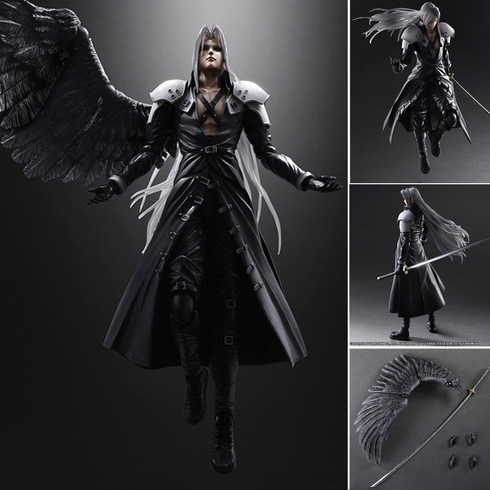 <font><b>Final</b></font> <font><b>Fantasy</b></font> VII <font><b>7</b></font> Sephiroth Anime Figures PVC Toy Play Arts Cloud Strife Zack Squall Leonhart Gunblade Action Figma Model Doll image