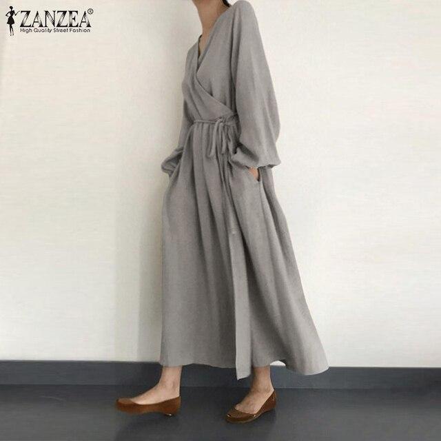 2021 Autumn Solid Sundress ZANZEA Casual V Neck Cotton Linen Dress Women Long Sleeve Maxi Long Vestido Female Kaftan Robe Belted 2