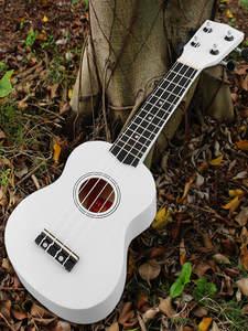 Guitar Ukulele Beginner Wood 12-Frets-Instrument Soprano Hawaii 4-Strings White Mini