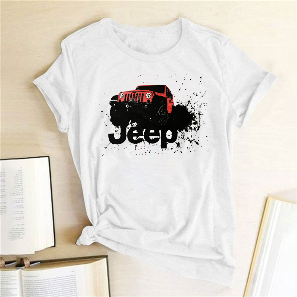 Jeep Car Ptinting Women T-shirt Short Sleeve Casual Summer T-shirt Femme Women 2020 Tops Clothes For Ladies Mujer Camisetas