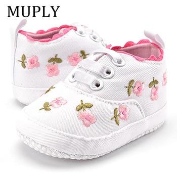 Bébé fille chaussures blanc dentelle florale brodé doux chaussures Prewalker marche enfant en bas âge enfants chaussures premier marcheur livraison gratuite 1