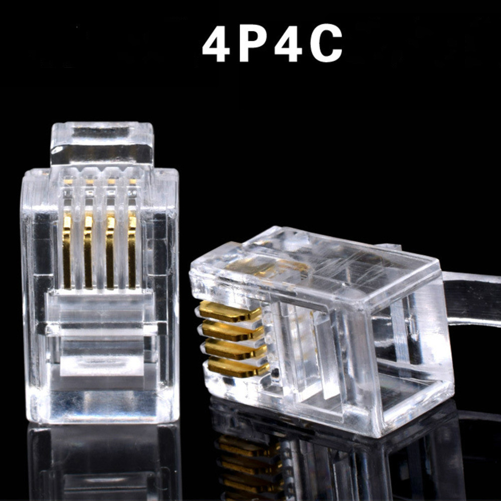 20Pcs Crystal Head RJ11 4P4C Modular Plug Gold Plated Network Connectors