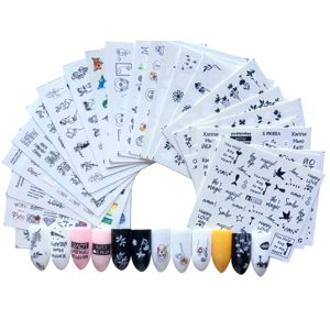 Image 3 - 1 ชุดผสมการออกแบบ Cool สาวเซ็กซี่เล็บสติกเกอร์ตัวอักษรคำใบรูปแบบรูปลอกน้ำ Slider Wraps Decor เล็บ