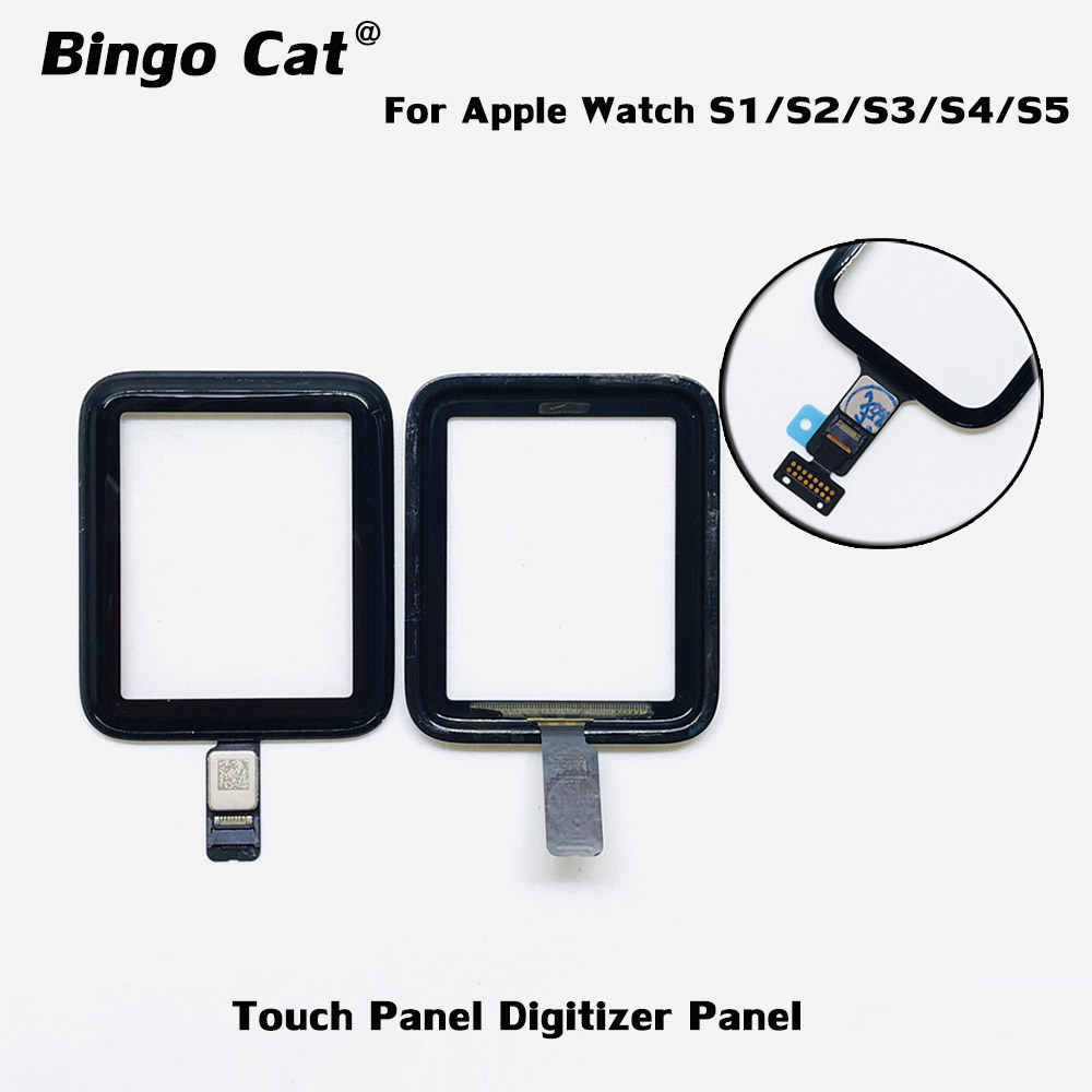 100% Brand New Digitizer Screen Panel For Apple Watch Series 2/3 38mm/42mm Series 4/5 40mm/44mm Front Glass damaged Replacement image