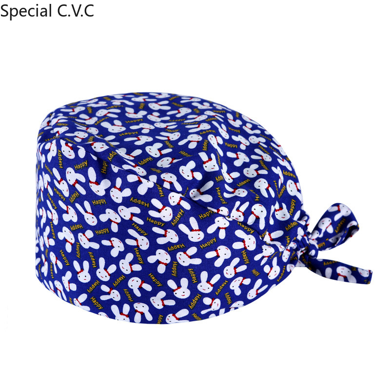 Free Shipping Scrub Caps For Women And Men Pure Cotton Hospital Medical Hats Animals Printing Tieback Elastic Surgical Cap
