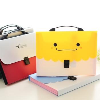 Folder uśmiechu Cartoon 13 warstw wewnętrznych organizer na dokumenty folder na dokumenty organizatorzy biurowi uśmiechnięty folder A4 Kawaii style tanie i dobre opinie Rozszerzenie portfel 32 8*25 8*4cm N020 300g Plastic Office School 13 layers
